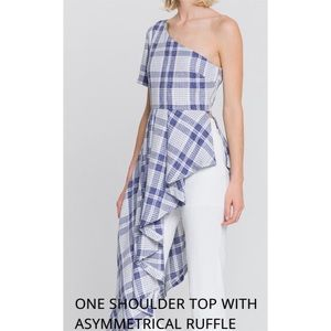 One Shoulder Top With Asymmetrical Ruffle